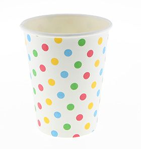 24 Sambellina Polka-dot Rainbow Coloured Paper Cups - included in Baby Shower Party Pack $115.00 www.strawberry-fizz.com.au