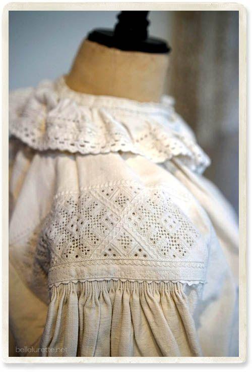 東欧アンティークスモックブラウス - 【Belle Lurette】ヨーロッパ フランス アンティークレース リネン服の通販