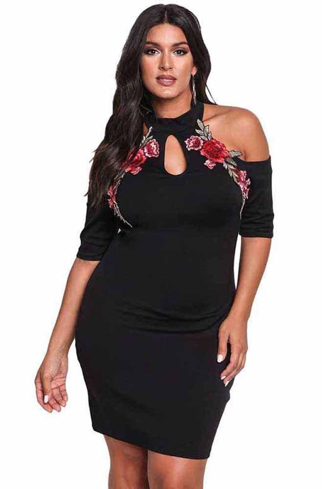 b3a631587e4 Women s  black short sleeve cold shoulder  PlusSize  dress bodycon design