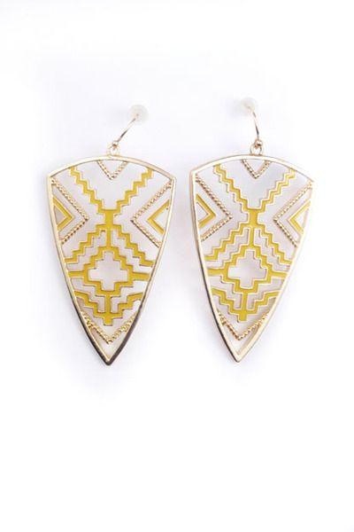 $39 Aztec Shield Earrings in Yellow