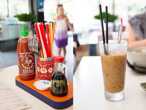Cutlery and condiments on every table - that's how it's done in many Asian countries. Great Vietnamese iced coffee.