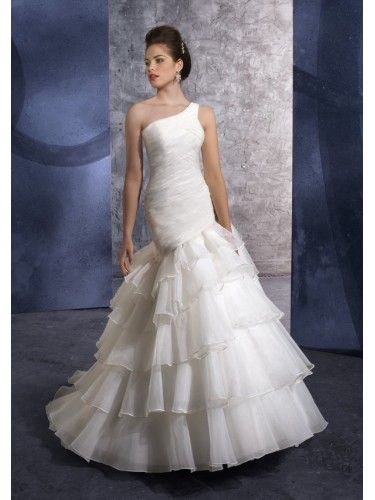 Organza One Shoulder Vertical Pleated Bodice Mermaid Wedding Dress