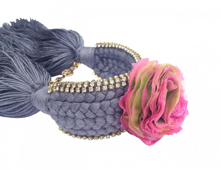 Braided cuff in dark grey braid with hand-made silk flower - Jolita Jewellery.  ON SALE NOW. Can be made in OTHER COLOURS. Was £300 now £175.