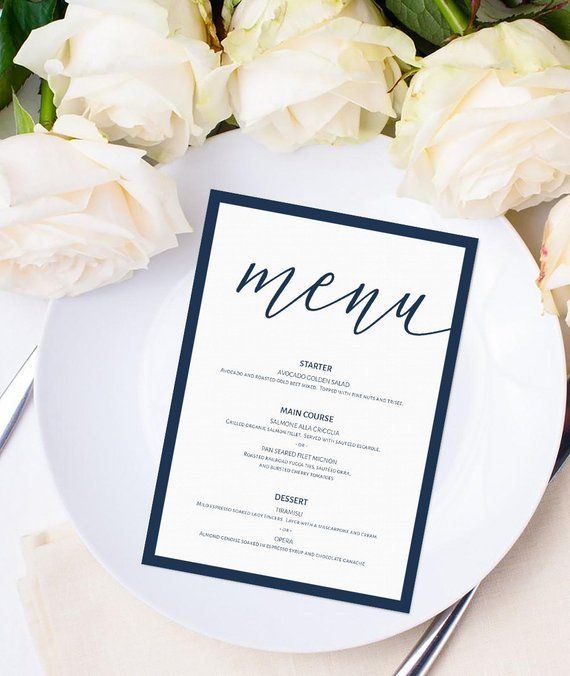 Sophisticated Navy Blue Menu Place Card Template Instant Download Modern 5x7 Wedding Menu Cards T Printable Wedding Menu Menu Card Template Wedding Menu Cards