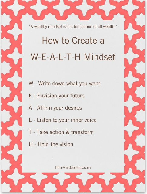 6 Powerful Keys to Developing a Wealthy Mindset. If you don't have the money you want, start with your mindset! Wealth begins there and is the foundation of all wealth!  Click and read more here:  http://lindapjones.com/blog