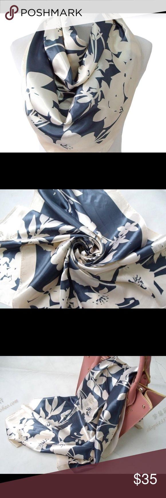 Women's Fashion Silk Scarf Fashion Women Square Silk Scarf Shawl Printed Spring Autumn National Brand Beige Scarves Satin Silk Scarf Wraps Queen Esther Etc Accessories Scarves & Wraps