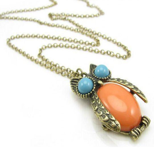 Owl Big Orange Gemstone Long Necklace