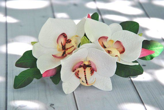 foam EVA white lilies Hair comb white hand made foam flowers