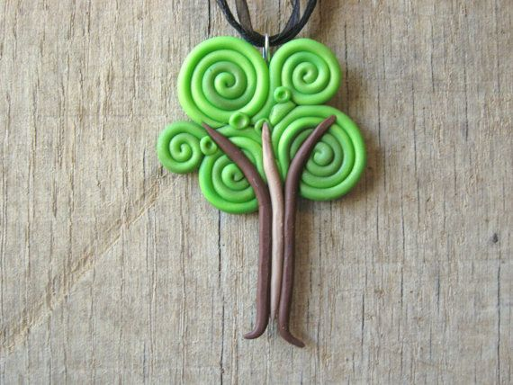 Tree Necklace Pendant from Swirls of Polymer by HipEarthDesigns, $25.00