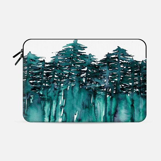 """FOREST THROUGH THE TREES - 5"" by Artist Julia Di Sano, Ebi Emporium on @casetify Teal Blue Green White Watercolor Painting Chic Nature Fine Art Style Minimalist Outdoors Adventure Colorful Brushstrokes Modern Wanderlust Design Macbook Laptop Sleeve #macbook #macbookcover #macbookcase #case #tech #proretina #macbookair #watercolor #trees #teal #painting #chic #Casetify"