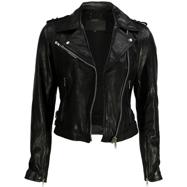 VIPARO Black Cropped Sleeve Leather Biker Jacket - Valerie ($315) found on Polyvore
