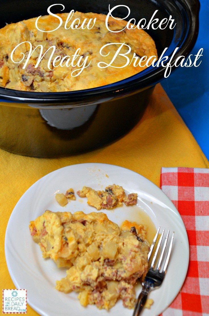 Start your day with this delicious Slow Cooker Meaty Breakfast #breakfast #crock pot #slow cooker http://recipesforourdailybread.com/best-crock-pot-meaty-breakfast/