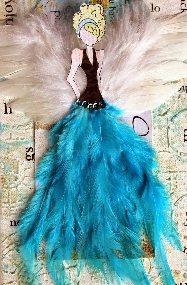 vestido con plumas