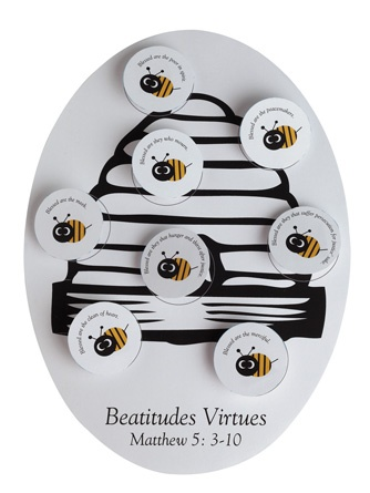 "Beatitude Bees (215-810) from Guildcraft Arts & Crafts!    This 3-D ""bee"" project will help children follow the Beatitudes and choose to put God before all else. Includes preprinted cardboard beehives, preprinted and precut bees, paper strips and glue.   11"" x 8 "". Package of 24."