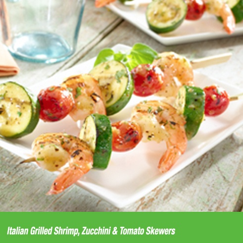 ... Shrimp, Zucchini & Tomato Skewers are the perfect complement to a hot