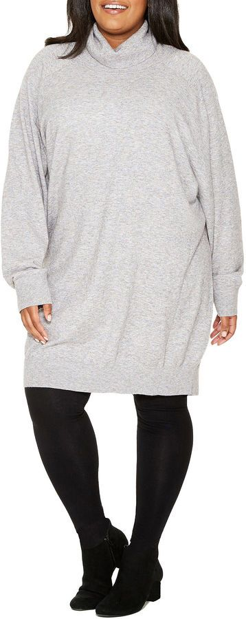 TRACEE ELLIS ROSS FOR JCPENNEY Tracee Ellis Ross for JCP Rejoice Long Sleeve Turtle Neck Sweater Tunic - Plus