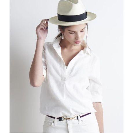 スキッパーシャツは全身白コーデで清潔感を出して。30代アラサー女性のスキッパーシャツのコーデ♡