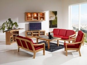 The photo shows: 1240H high back chair w/leather 40516 Tomato 1240A/2   2-seater sofa w/leather 40516 Tomato 1240A/3  3-seater sofa w/leather 40516 Tomato 1511A  Coffee table 1511C  End table 7712  Captain's bar TV1-8 TV cabinet 1188M Wall hanging cabinet