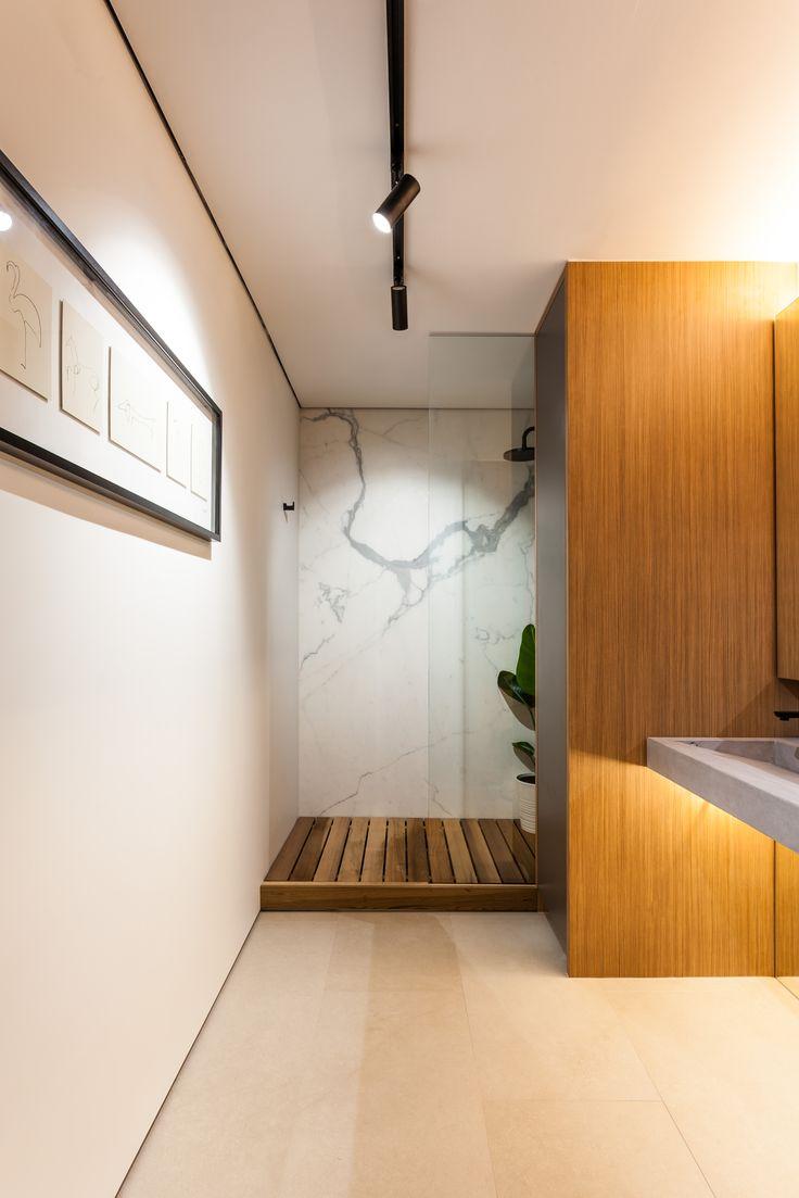 Apartment renovation - Bathroom by LDC. Claremont, Western Australia. #modernbathroom #bathroom #modern #modernapartment #concrete #timber #warm #cedar #shower #marble #glass #frameless #mirror
