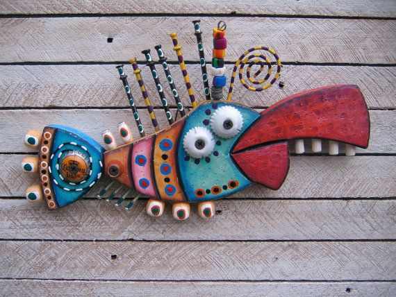Twisted Fish 111  Found Object Wall Art by Fig Jam by FigJamStudio, $65.00