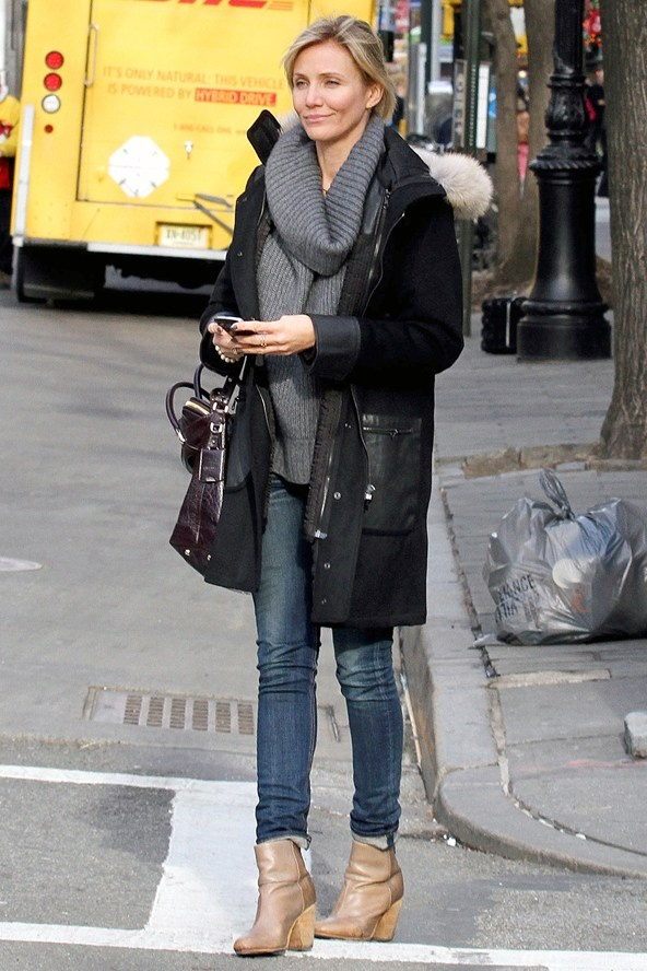 Great Neck Taxi >> Cameron Diaz in a parka with skinny jeans and boots for a