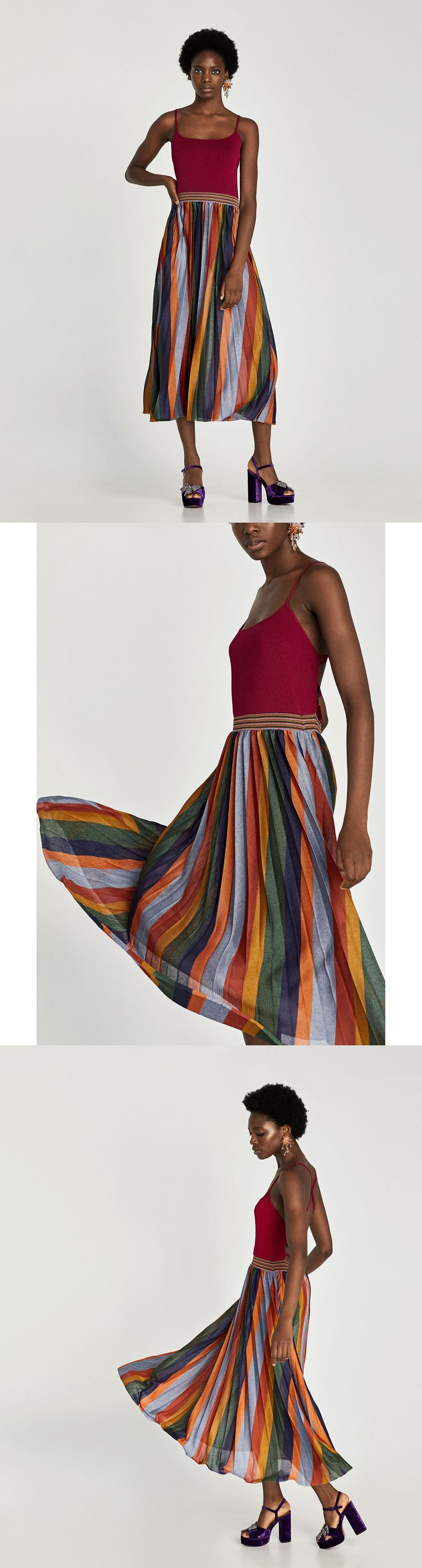 Striped Dress With Criss-Cross Back // 89.90 USD // Zara // Strappy dress featuring square neckline, cinched waist, pleated A-line skirt and criss-cross straps on the back. HEIGHT OF MODEL: 178 cm. / 5′ 10″