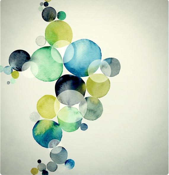 : Colour, Circles, Abstract Art, Blue Green, Watercolors, Colors Palettes, Bubbles, Water Colors, Design