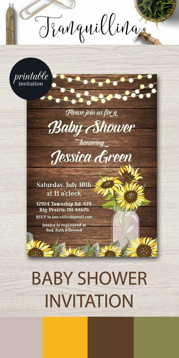 Sunflower Baby Shower Invitation Printable, Fall Baby Shower Invitation, Rustic Baby Shower Invitation, Rustic Sunflower Birthday Invitations. tranquillina.etsy.com