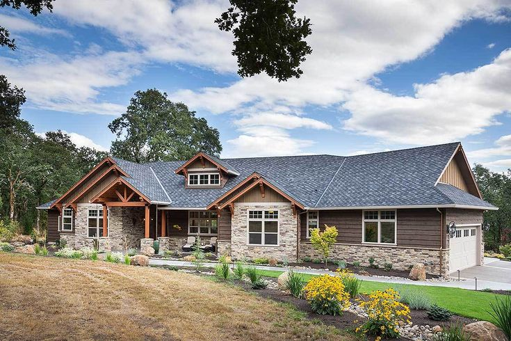 Beautiful Northwest Ranch Home Plan - 69582AM   1st Floor Master Suite, Butler Walk-in Pantry, CAD Available, Corner Lot, Craftsman, Den-Office-Library-Study, Luxury, Mountain, Northwest, PDF, Photo Gallery, Premium Collection, Ranch, Split Bedrooms   Architectural Designs