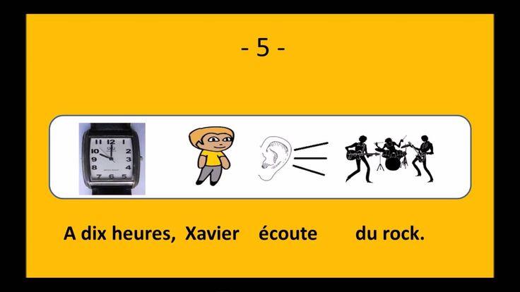 Le français illustré numéro 33 : Xavier écoute de la musique. / Radio - musique classique - jazz - rock / Xavier écoute la radio. Il écoute de la musique. Il est 8h00, c'est de la musique classique. Mais à 9h00, il écoute du jazz. A 10h00, Xavier écoute du rock. Louise préfère regarder la télévision.