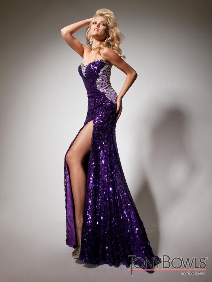 TONY BOWLS strapless purple beaded gown with daring slit <3