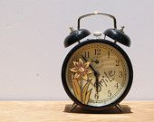 Retro Alarm Clock ~ Double Bell Retro Alarm Clock In Black ~ Hand Painted Retro Home Decor - pinned by pin4etsy.com