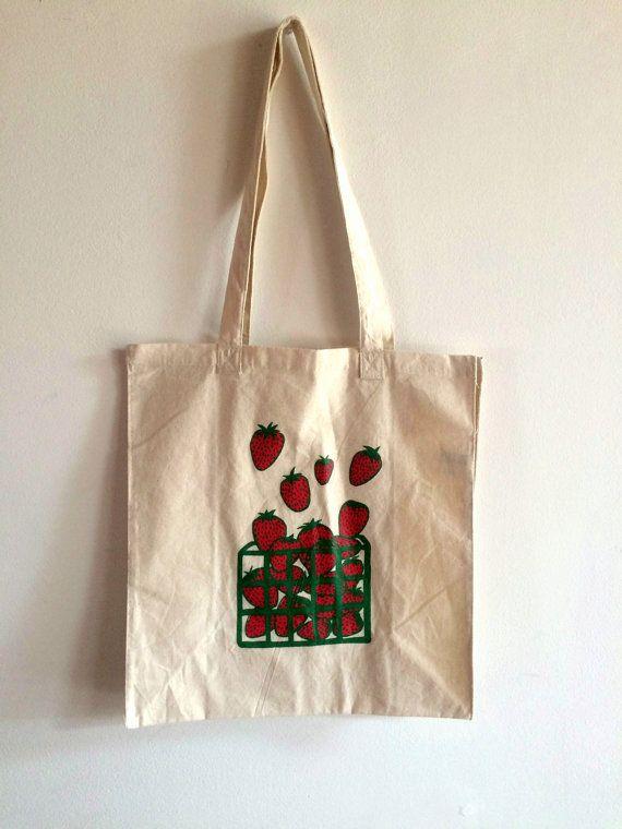 Strawberry Tote Bag Screen Printed Cotton Reusable Bag