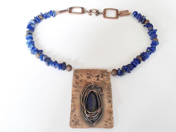 girocollo etnico lapis con pendente rame e cabochon lapislazzuli : Collane di tizianatar