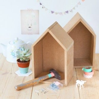 DIY Little Wooden Houses | for play or on the wall to hold books and treasures