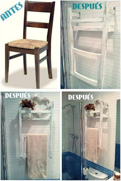 Convertir una silla en un estante toallero | Hacer bricolaje es facilisimo.com