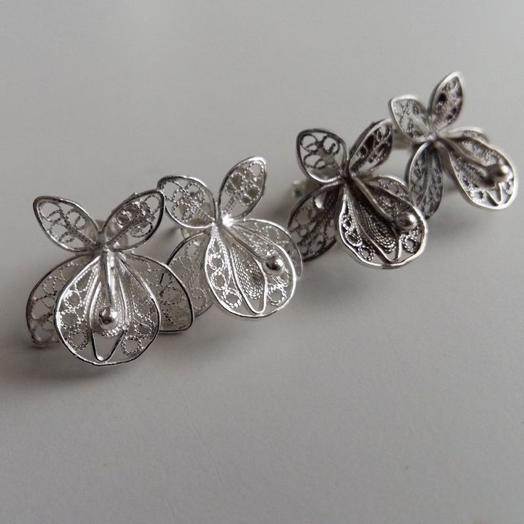 Small Pretty Filigree Earrings Orquideas Chicas Orchid