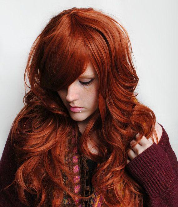 SALE - AUTUMN Darling wig // Auburn Red Hair // Natural Boho Indie Hipster Lolita Hair // Cosplay Short Wavy wig