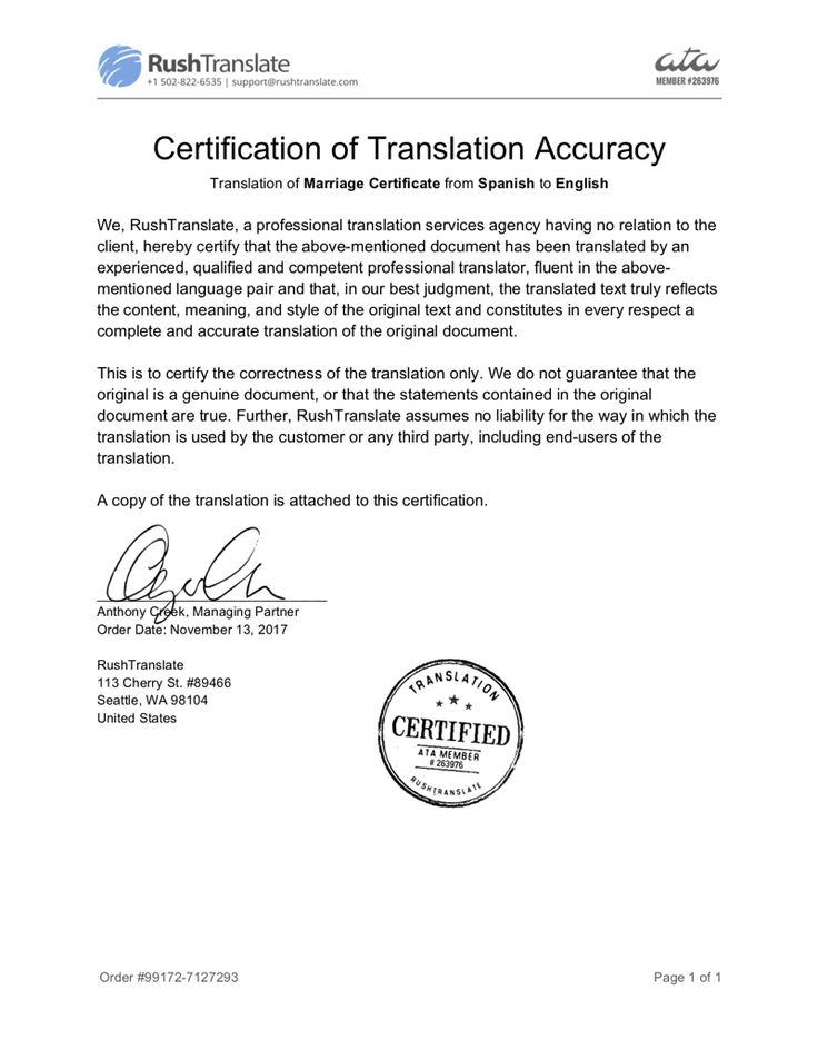 Certificate of Translation Accuracy Sample