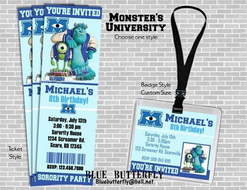 MONSTER'S UNIVERSITY Party Invitation. Ticket or Badge Style.Printable | BlueButterfly - Digital Art  on ArtFire