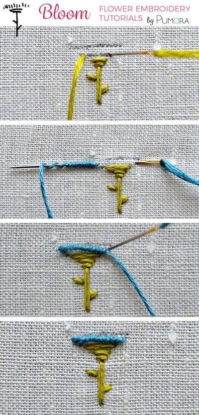 mini bullion stitch flower embroidery tutorial | Embroidery Crafts ...