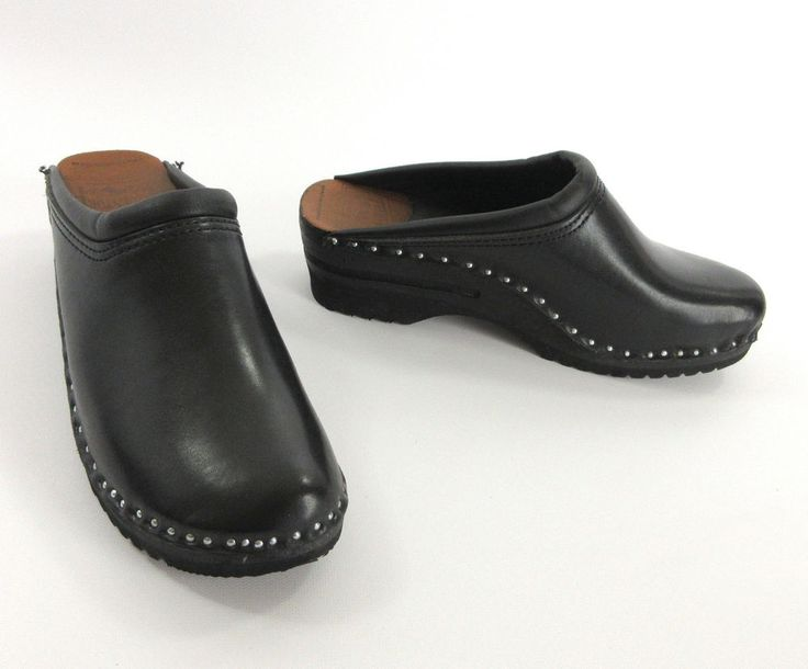 Troentorps Bastad Clogs 38 Monet Black Leather Wood Orthopedic Work Shoes  Sweden