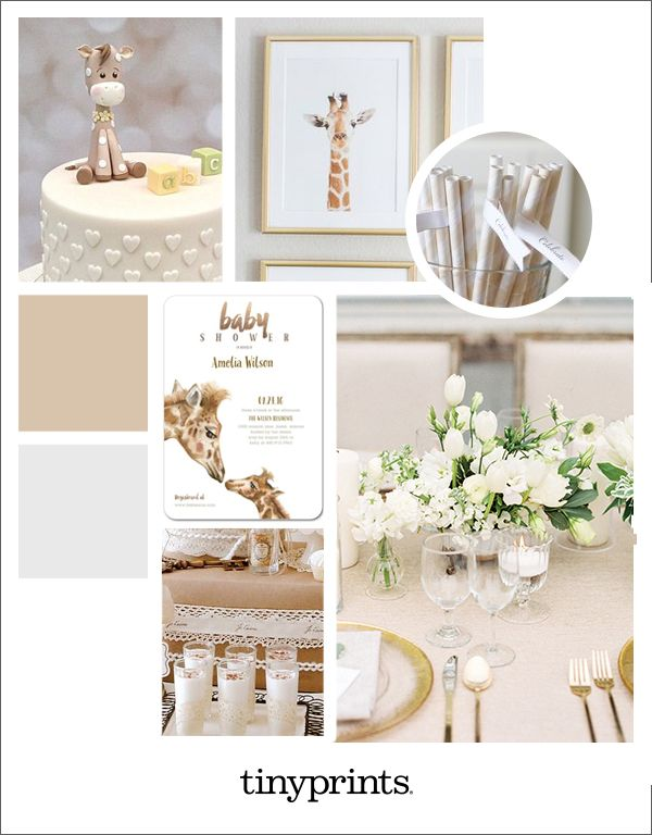 From desserts to party décor, this chic giraffe baby shower with a neutral color scheme is sweetly special.