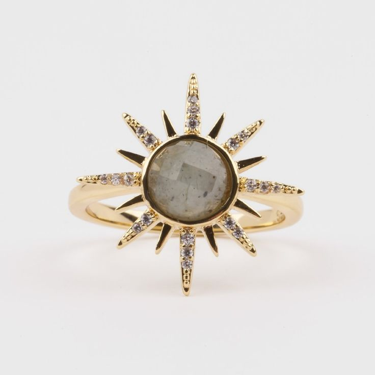 Gemstone Starburst Ring With Moonstone