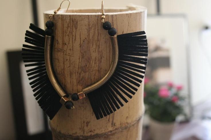 black - bronze african earrings