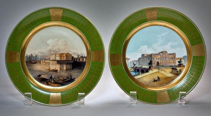 A Pair of Antique Russian Porcelain Topographical Platesby the Imperial Porcelain Factory, St Petersburg, period of Nicholas II, dated 1913