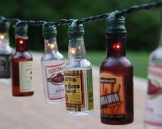 AHHH! I'm trying to save up enough Vodka 360 bottles (various/random flavors) to do this! I can't drink all that vodka alone though, people! So, if you buy some 360, I'd love to use your empty bottle! Easy DIY Patio Party Lights