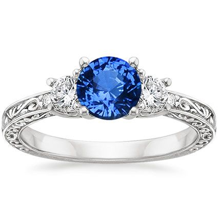 18K White Gold Sapphire Antique Scroll Three Stone Trellis Ring from Brilliant Earth