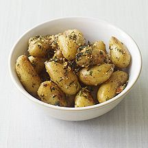 Weight Watchers Roasted Fingerling Potatoes with Herbs and Garlic - I used Idaho Gold because it's what we had. Yum-o