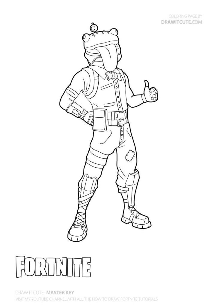 How To Draw Beef Boss How To Draw Fortnite Tutorial Draw It Cute Drawings Cute Coloring Pages Character Outline